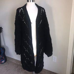 ADORA black chenille open knit duster cardigan 3X